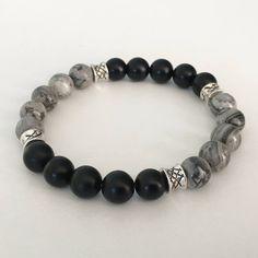 Jasper bracelet - Black Onyx bracelet - Beaded bracelet - Landscape Jasper beads - Black Onyx beads by LevenimOfficial on Etsy https://www.etsy.com/uk/listing/589534863/mens-bracelet-jasper-bracelet-black-onyx