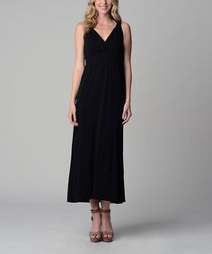 Look at this Christine V Black Soot Surplice Maxi Dress on #zulily today!