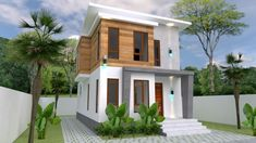 Small Home design Plan with 3 Bedroom - SamPhoas Plan Two Story House Design, Small House Design, Duplex House Plans, Small House Plans, Modern Architectural Styles, Model House Plan, Modern Bungalow House, Zen, Brick Accent Walls
