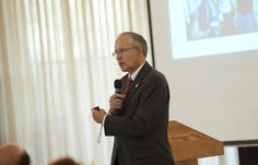 President Eisler speaks on campus in the Rankin Student Center Dome Room.