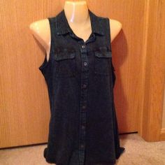 Rock and Republic tank NWT green acid wash button up tank Rock & Republic Tops Tank Tops