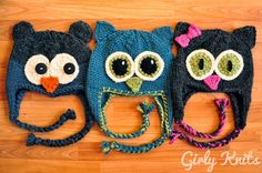 easy: Owl Be There Family of Animal Hats KNITTING PATTERN Charcoal Blue Bear Owl Hat, Teal Owl Hat, and Grey Cat Hat. $5.00, via Etsy.