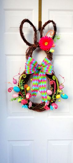 NEW Edition!!! VERY Limited!!! - RAZ Easter Bunny Wreath - Spring Wreath - Summer Wreath - Easter Door Decoration on Etsy, $89.00 by oldrose
