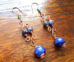 Lapis lazuli and copper wire earrings. Dangle earrings. Semi-precious stone earrings. Swarovski crystal.