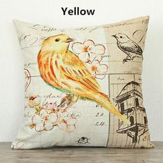 Flower bird pillow pastoral vintage design couch cushions for home decoration