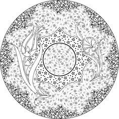 Lovely! Mandala Pattern, Pattern Art, Diy Bag Painting, Turkish Pattern, Mandala Coloring Pages, Glazes For Pottery, Colored Paper, Tile Art, Illuminated Manuscript