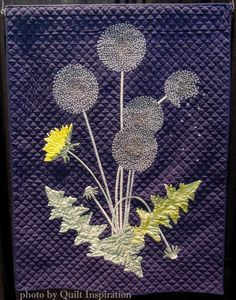 """Dandelion, 35 x 46"""", by Louise Moor.  2015 World Quilt Show.  Photo by Quilt Inspiration."""