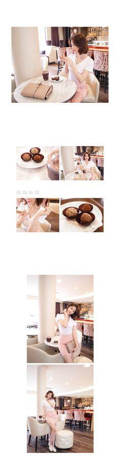 Korean Fashion Online Trend 韓流 Store Luxe Asian Women 韓国 Style Clothes Shop korean wave Slim v-neck t-shirt