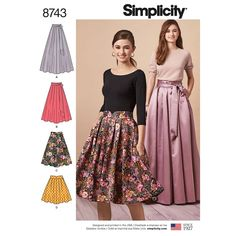 Simplicity Sewing Pattern 8743 Misses' Pleated Skirts Pleated Skirt Pattern, Skirt Patterns Sewing, Simplicity Sewing Patterns, Pants Pattern, Clothing Patterns, Pleated Skirts, Shirt Dress Pattern, Skirt Sewing, Coat Patterns