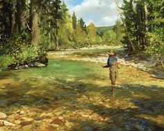 Trout Creek Pool, Brett Smith fly fishing painting, brettsmith.com #canoefishing