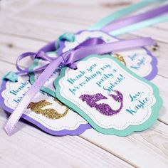 12 Mermaid Personalized Favor tags, under the sea, little mermaid favor tags