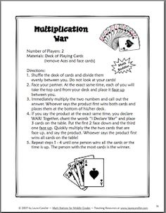 Multiplication Worksheet -- Five Minute Frenzy -- Four per page (E ...