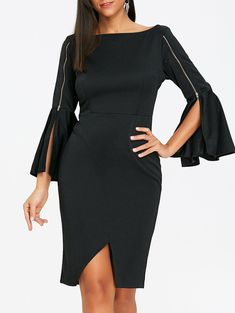 SHARE & Get it FREE   Zipped Bell Sleeve Boat Neck Sheath DressFor Fashion Lovers only:80,000+ Items • New Arrivals Daily • Affordable Casual to Chic for Every Occasion Join Sammydress: Get YOUR $50 NOW!