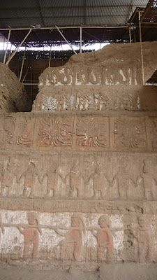 1,500 year old wall art. At Huaca del Sol, near Trujillo, Peru.