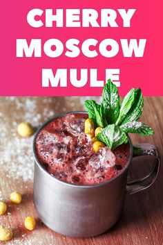 Looking for a drink to get your party started this summer? Try a tasty twist on the classic for an impressive impression for your guests with our latest favorite - the Cherry Moscow Mule. Not only does this recipe serve as a delicious & refreshing drink f Party Drinks, Fun Drinks, Alcoholic Beverages, Refreshing Drinks, Summer Drinks, Moscow Mule Recipe, Yummy Food, Tasty, Pumpkin Dessert