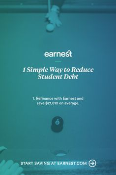 At Earnest, we're all about pinspiration. But a healthier life doesn't stop at food and fitness—your finances are just as important. And refinancing your student loans is a good place to start. Earnest offers low rates, flexible payments, and personalized attention to your application. Get your rate in just 2 minutes.