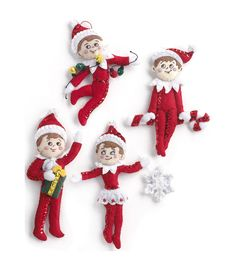 "Elf On The Shelf Scout Elf Ornaments Felt Applique Kit-5""X5"" Set Of 4"