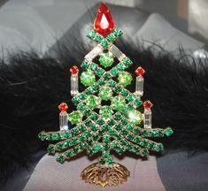 Unique Czech Rhinestone Christmas Tree, Design by Jana