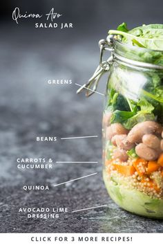 This Quinoa and Avocado Quick, easy, on the go vegan salad jars are perfect for preparing ahead and grabbing on your way to work or school!