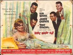 Movie Poster for Boys' Night Out, 1962 film starring Kim Novak, James Garner and Tony Randall.