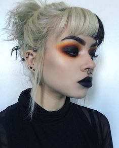 www.throwbackannie.com SLAYIN'! This GORGE babe is my new inspo! Get this smoking autumn look and add a twist with some of our lush body jewelry at TBA! We sell all kinds of piercings like our super cute septum clickers, nose rings, fake septum hoops, scaffold bars, nipple shields, ear plugs, ear weights and so much more! NEW LINES ADDED ALL THE TIME! Hair, Halloween Face Makeup, Whoville Hair, California Hair