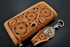 beautifully carved wallet -- funny sheridan