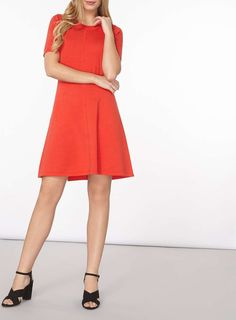 Womens Red Fit And Flare Knitted Dress- Red