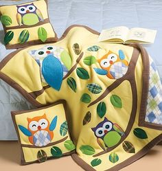 Visit the pattern department in store to browse our patterns available in store.Pillow A,B: 14inches x 14inches. Quilt C: 34inches x 45inches. All views have contrast back, bands and appliques.