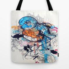 Animal art Canvas Tote Bag of Watercolor Blue by ArtOfPrincessM