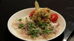 Whitefish flavoured with lime and coriander
