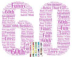 Personalized 60th Birthday Gift Sixty Birthday Print Sixty Birthday Gift Ideas Word Art 8 x 10