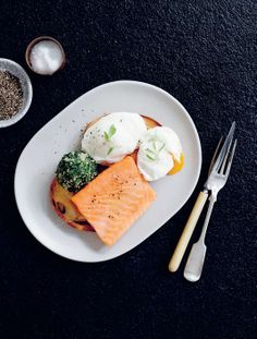 Dashi-poached eggs with confit salmon & sesame spinach by Daniel Wilson | Cooked