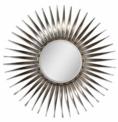 42 Antiqued Silver Leaf Starburst Metal Framed Beveled Round Wall Mirror >>> Click on the image for additional details.