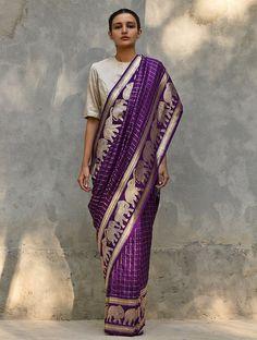 Raw Mango is a brand of contemporary Indian handwoven textiles crafted using traditional techniques. Banaras Sarees, Handloom Saree, Raw Mango Sarees, Purple Saree, Saree Trends, Elegant Saree, Soft Silk Sarees, Saree Look, Silk Sarees Online