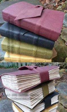 Leather Journals-thong bound to create gorgeous spine bands by Rhonda Miller
