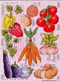 ♥Meus Gráficos De Ponto Cruz♥: Legumes em Ponto Cruz para a Cozinha