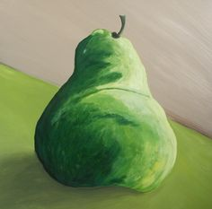 Green Pear x Acrylic on canvas Pear, Fruit, Canvas, Prints, Green, Pictures, Blue, Tela, Photos