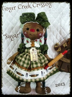 "♥♥ Primitive Raggedy Gingerbread Doll ""SUGAR"" ♥♥ from Ginger Creek Crossing"
