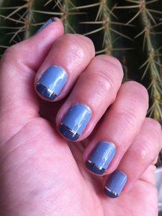 French manicure using silver nail strip tape #nail #nailart  www.nailartparaprincipiantes.wordpress.com