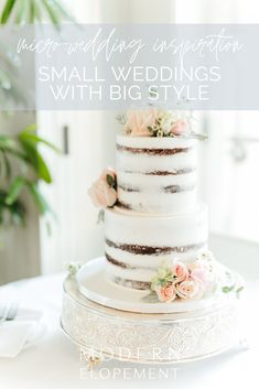 Just because you're choosing to do a Micro-Wedding doesn't mean that you have to have no style! One of the best ways to include your personal style is to have a gorgeous wedding cake! Whether you're planning an intimate dinner reception after your elopement or you're waiting until you get home to have a big Home-Town Bash, you can certainly include the cake! Post Wedding, Elope Wedding, Wedding Posing, 1920s Wedding, Elopement Wedding, Wedding Ceremony, Small Intimate Wedding, Intimate Weddings, Small Weddings