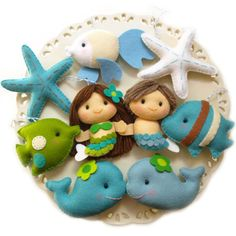 Mermaids and sea friends felt party favours