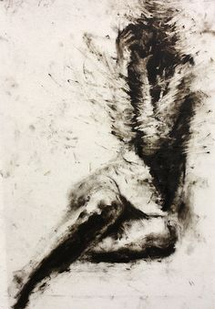"Clara Lieu Drawing Study  36"" x 24"", printmaking ink on Dura-Lar"