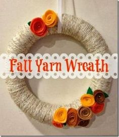 Fall Yarn Wreath with Felt Flowers by joanne
