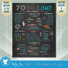 70th Birthday Gift 1947 Personalized 70th by WhiteFoxGraphics