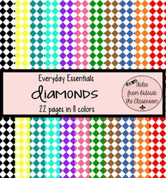 Everyday Essentials: Diamonds (or checkerboards! Digital Paper Free, Digital Scrapbook Paper, Digital Papers, School Fonts, Frame Clipart, Paper Background, Diamond Pattern, Pattern Paper, Creations