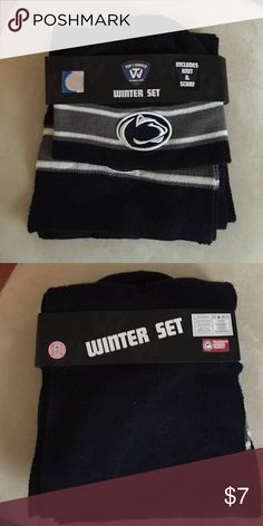 Brand New Penn State Hat and Scarf set Brand new (still in wrapping) Penn State winter set. Comes with a hat and scarf! In perfect condition Collegiate Accessories Hats
