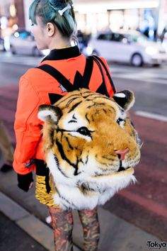 Mai is a Japanese model whose green hair and gas mask-accessorized outfit caught our eye on the street in Harajuku. Tiger Backpack #vanitytours