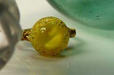 Walking on sunshine vintage glass button ring