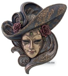 Venetian Mask Wall Plaque - Rose - Cold Cast Bronze [TL322200235] - $69.00 : The Guiding Tree | Online Metaphysical, Pagan, Body Mind Spirit Store | Statuary, Gifts, Tarot, Learning Cards, Music, Unique Gifts For Body Mind and Spirit