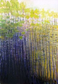 Glade - Wolf Kahn stand of trees grays limes purples Abstract Landscape, Landscape Paintings, Modern Art, Contemporary Art, Tree Art, Les Oeuvres, Amazing Art, Cool Art, Art Photography